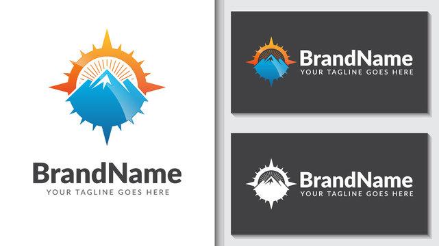 mountain compass concept logo icon vector template