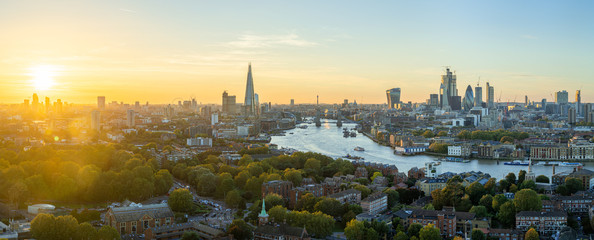 Fotobehang London Aerial view of the City of London at sunset