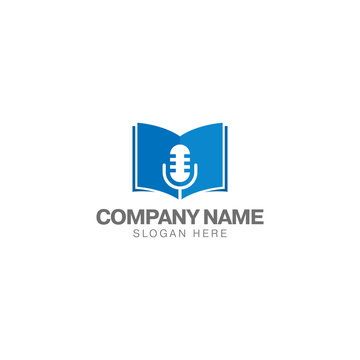 Book education podcast logo design template, microphone classic and book vector