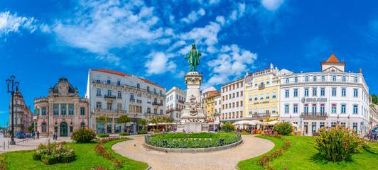 COIMBRA, PORTUGAL, MAY 20, 2019: Monument to Joaquim António de Aguiar at Portagem square at Coimbra, Portugal