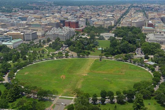 White House and the Ellipse aerial view from Washington Monument in Washington, District of Columbia DC, USA.