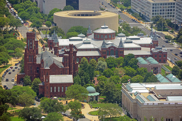The Smithsonian Castle aerial view from top of the Washington Monument in Washington, District of Columbia DC, USA.
