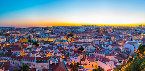 Aerial view of downtown Lisbon, Portugal Wall mural