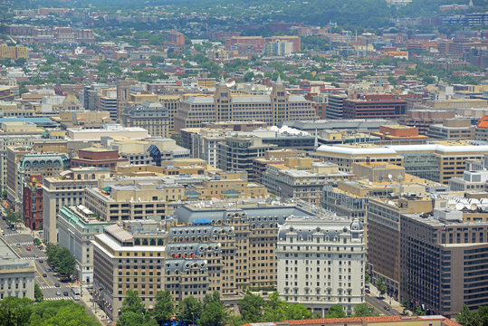 Washington modern city aerial view from top of the Washington Monument in Washington, District of Columbia DC, USA.