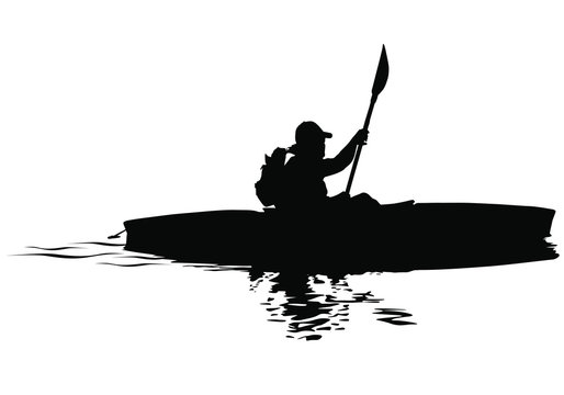 A vector silhouette of man kayaking.