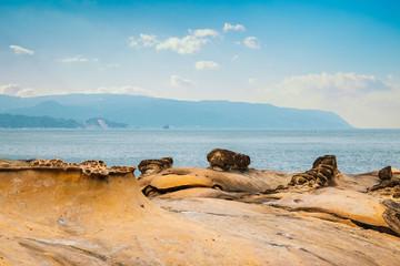 Yehliu Geopark, rock formation and sea in Taiwan