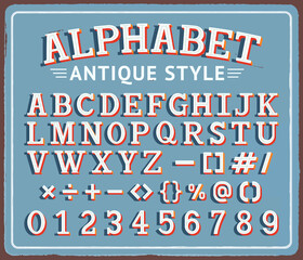 Vintage retro tin sign with creative alphabet typography vector illustrations..