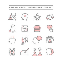 PSYCHOLOGICAL COUNSELING ICON SET