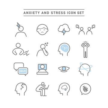 ANXIETY AND STRESS ICON SET