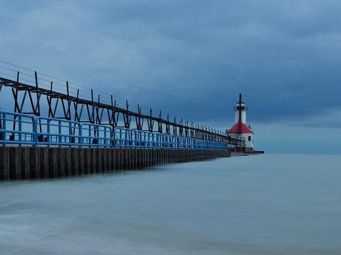 Sunrise photo of the St Joseph Michigan North Pier Lighthouse and Lake Michigan