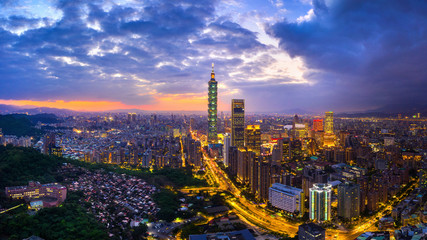 Wall Mural - Taiwan skyline, Beautiful cityscape at sunset.