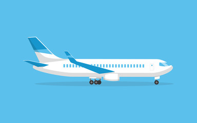 The plane is, side view. Vector illustration cartoon style. Fotobehang