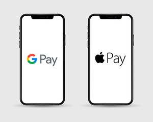 Apple Iphone with different mobile online shopping application logos: Google Pay and Apple Pay