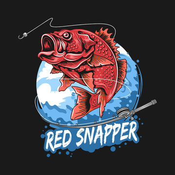 FISH RED SNAPPER BASS FISHERMAN ARTWORK VECTOR