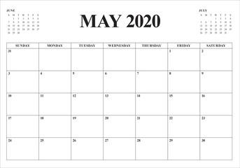 May 2020 desk calendar vector illustration