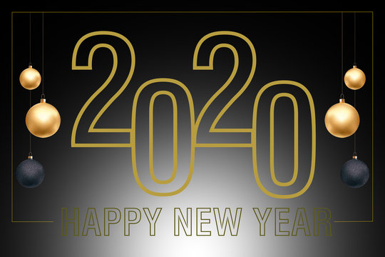 Happy new year 2020, Gold text on black color Background, Illustration merry Christmas and happy new year 2019-2020.