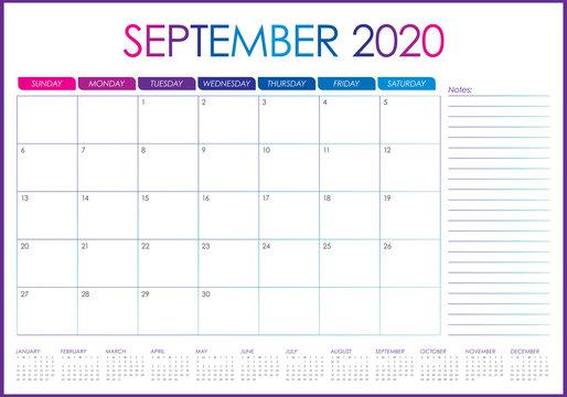 September 2020 desk calendar vector illustration