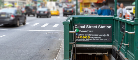 Subway entrance to the 6 train on Canal Street in Manhattan New York City