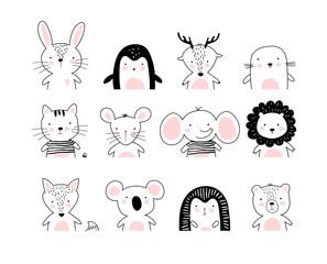Poster with cute animal portraits for a card, baby shower, sticker for a children s bedroom. Doodle illustration Rabbit, penguin, deer, cat, elephant, lion, koala, bear, hedgehog, wolf, fox. vector