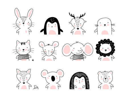 Poster with cute animal portraits for a card, baby shower, sticker for a children s bedroom. Doodle illustration Rabbit, penguin, deer, cat, elephant, lion, koala, bear, hedgehog, wolf, fox. vector