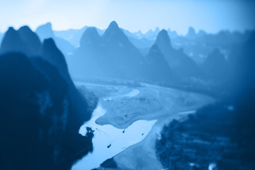 Keuken foto achterwand Guilin Li River, Guilin - Yangshou China. Tilt shift panorama of the river from above. Color of the year 2020. Main color trend concept.