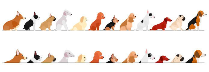 set of  side view small dogs border