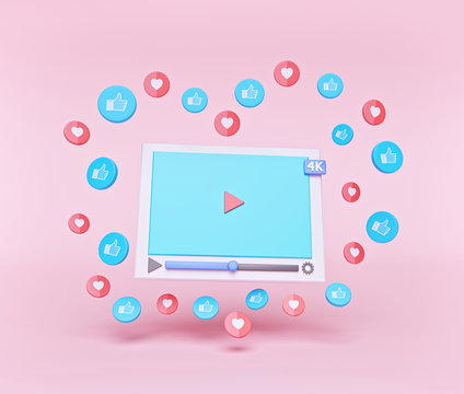 Social media network concept. minimal 4k video player with like and hearts isolated on pastel background. 3d rendering