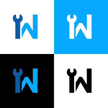 Initial letter W and wrench, vector logo icon design template
