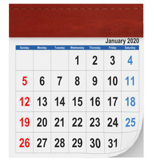 2020 Jenuary calendar red leader - 3d rendering