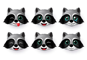 Emojis wolf face vector set. Wolfs emoji or emoticon animal faces in naughty, crying, cute, smiling and happy mood isolated in white background. Vector illustration.
