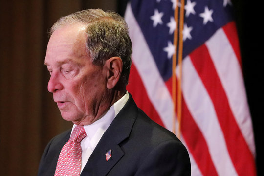 Democratic U.S. presidential candidate Michael Bloomberg delivers remarks where he was honored by the Iron Hills Civic Association at the Richmond County Country Club in Staten Island, New York