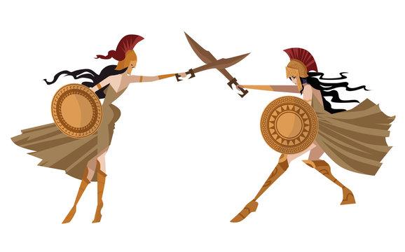 amazon women warriors training with swords