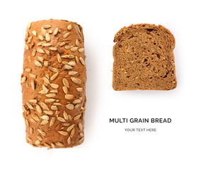 Creative layout made of multi grain bread. Flat lay. Food concept.