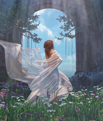Woman in white veils walking in the park,3d rendering