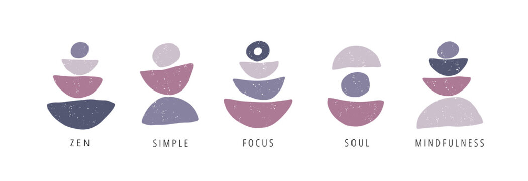 Focus, pause, moment flat vector posters set