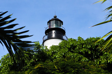 The upper portion of the Key West Historic lighthouse originally built in 1848 and reconstructed in 1894 to stand over 100 feet tall.