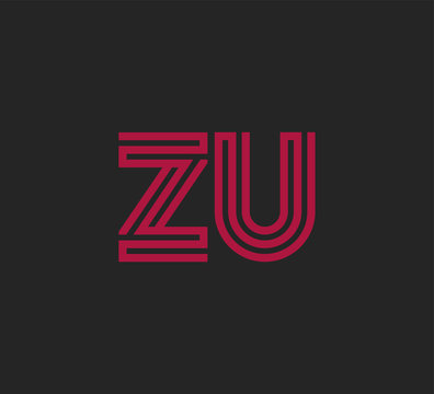 Initial two letter red line shape logo on black vector ZU