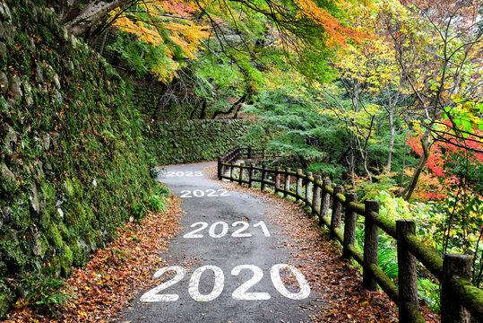 Number of 2020 to 2023 on walkway with maple forest, happy new year concept