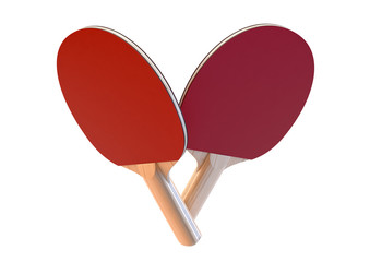 A set of two professional wooden ping-pong paddles with red padding on an isolated white studio background - 3D render