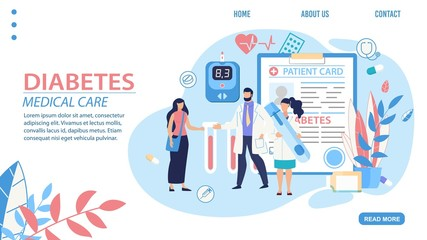 Medical Diabetes Diagnosis and Treatment Trendy Flat Landing Page. Cartoon Doctor, Nurse and Patient Standing over Examination Card, Blood Glucose Meter and Insulin Vial. Vector Illustration