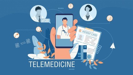 Telemedicine Banner Advertising Medical Mobile App. Cartoon Human Hand Holding Smartphone with Working Application for Online Doctor Consultation. Patient Card. Open Chat. Vector Flat Illustration