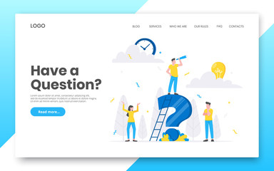 Business internet landing page concept template. Teamwork characters working together with big question mark, frequently asked questions time management concept flat style design vector illustration. Fototapete