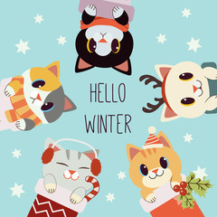 The character of cute cat with text of hello winter in the christmas theme. The cute cat wear scarf and deer horn and earmuffs and winter hat. The character of cute cat in flat vector style.