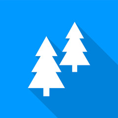 Flat white coniferous trees icon with a long shadow on a blue background.