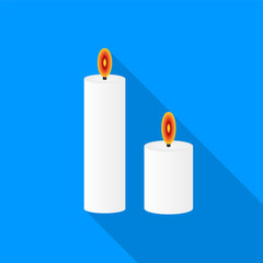 Flat white burning candles icon with a long shadow on a blue background.