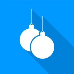 Flat white Christmas balls on a string icon with a long shadow on a blue background.