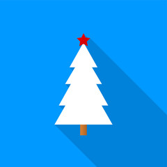 Flat white Christmas tree with a red star icon with a long shadow on a blue background.