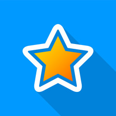 Flat golden star icon with a long shadow on a blue background.