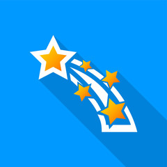 Flat shooting star icon with a long shadow on a blue background.