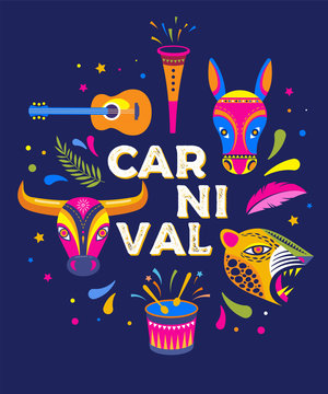Carnaval de Barranquilla, Colombian carnival party. Vector illustration, poster and flyer